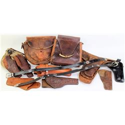Collection of misc leather and holsters.