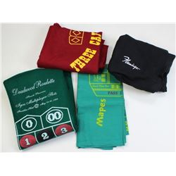 Collection of 4 gambling felts, includes