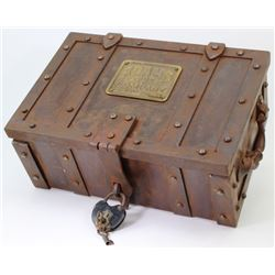 Reproduction iron strong box with brass Adams