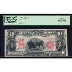 1901 $10 Bison Legal Tender Note PCGS 66PPQ