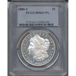 1880-S $1 Morgan Silver Dollar Coin PCGS MS64+PL