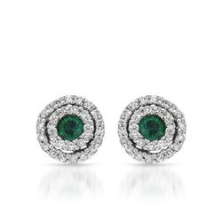 14KT White Gold 0.24ctw Emerald and Diamond Earrings