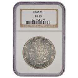 1884-S $1 Morgan Silver Dollar Coin NGC AU55