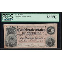 1864 $500 Confederate States of America Note PCGS 55PPQ