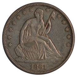 1861 Seated Liberty Half Dollar Coin