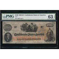 1862 $100 Confederate States of America Note PMG 63EPQ