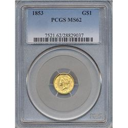 1853 $1 Gold Coin PCGS MS62
