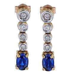 10KT Yellow Gold 1.12ctw Blue Sapphire and Diamond Earrings