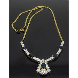 14KT Yellow Gold Blue Sapphire and Diamond Necklace