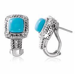 14KT White Gold 3.07ctw Turquoise and Diamond Earrings