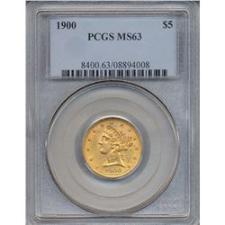 1900 $5 Liberty Head Half Eagle Gold Coin PCGS MS63