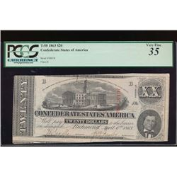 1863 $20 Confederate States of America Note PCGS 35