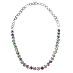 14KT White Gold 4.00ctw Multi Color Sapphire and Diamond Necklace