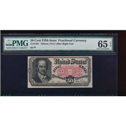 50 Cent Fifth Issue Fractional Note PMG 65EPQ