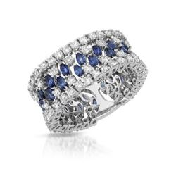 18KT White Gold 2.50ctw Blue Sapphire and Diamond Ring