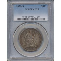 1859-S Liberty Seated Half Dollar Coin PCGS VF35