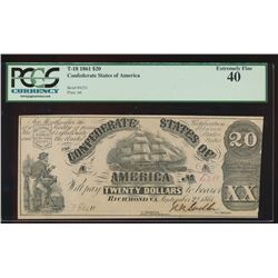 1861 $20 Confederate States of American Note PCGS 40