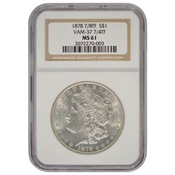 1878 7/8 $1 Morgan Silver Dollar Coin Vam 37 NGC MS61