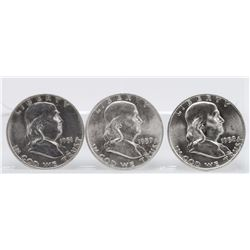 Lot of (3) 1951, 1957, 1958 Franklin Half Dollars