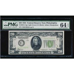 1934 $20 Philadelphia Federal Reserve Note PMG 64EPQ