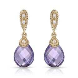 14KT Yellow Gold 4.48ctw Amethyst and Diamond Earrings