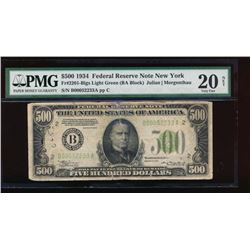 1934 $500 New York Federal Reserve Note PMG 20NET