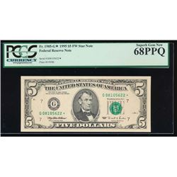1995 $5 Chicago Federal Reserve Star Note PCGS 68PPQ