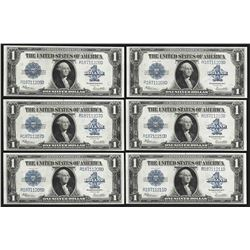 Lot of (6) Consecutive 1923 $1 Silver Certificate Notes Uncirculated