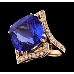 24.05 ctw Tanzanite and Diamond Ring - 14KT Rose Gold