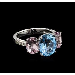 3.56 ctw Aquamarine, Morganite and Diamond Ring - 18KT White Gold