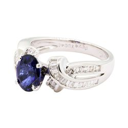 1.93 ctw Sapphire and Diamond Ring - 18KT White Gold