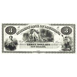 1800's $3 Citizens' Bank of Louisiana, New Orleans, LA Obsolete Bank Note