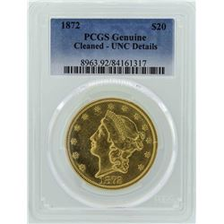 1872 $20 Liberty Head Double Eagle Gold Coin PCGS Genuine