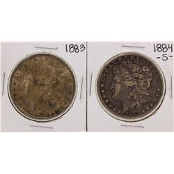 Lot of 1883 & 1884-S $1 Morgan Silver Dollar Coins