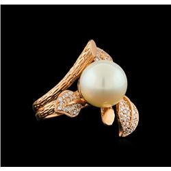 14KT Rose Gold 0.62 ctw Diamond and Pearl Ring