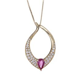 0.42 ctw Ruby and Diamond Pendant - 18KT Yellow Gold