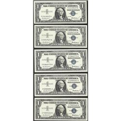 Lot of (5) 1957 $1 Silver Certificate Notes