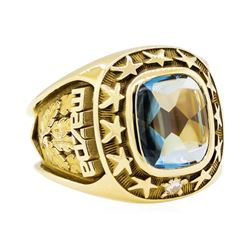 3.00 ctw Blue Topaz and Diamond Mazda Company Ring - 10KT Yellow Gold