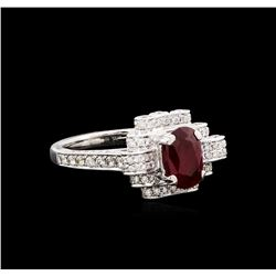 1.42 ctw Ruby and Diamond Ring - 18KT White Gold