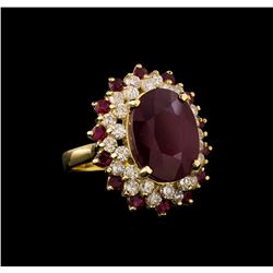 14KT Yellow Gold 12.78 ctw Ruby and Diamond Ring