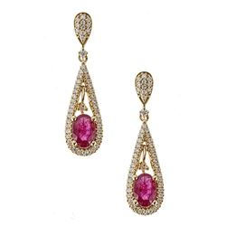 1.15 ctw Ruby and Diamond Earrings - 18KT Yellow Gold