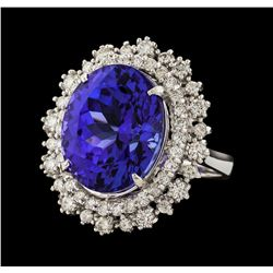15.33 ctw Tanzanite and Diamond Ring - 14KT White Gold