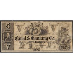 1800's $5 Canal & Banking Co. New Orleans Obsolete Note