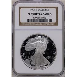 1994 $1 American Silver Eagle Proof Coin NGC PF69 Ultra Cameo