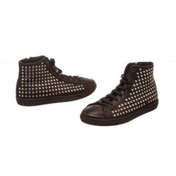 Burberry Black Leather Lace Front Studded High Top Sneakers 35