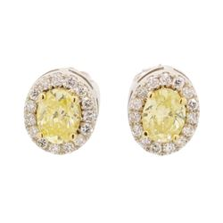 1 ctw Diamond Earrings - 14KT Yellow And White Gold