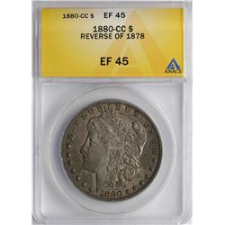 1880-CC Reverse of 1878 $1 Morgan Silver Dollar Coin ANACS XF45 Great Toning
