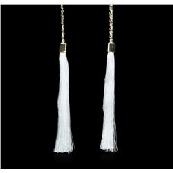 Double Silk Tassel Braided Necklace - Gold Plated
