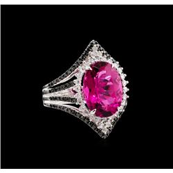 7.84 ctw Ruby and Diamond Ring - 18KT White Gold