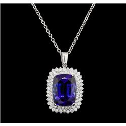 GIA Cert 28.33 ctw Tanzanite and Diamond Pendant With Chain - 14KT White Gold